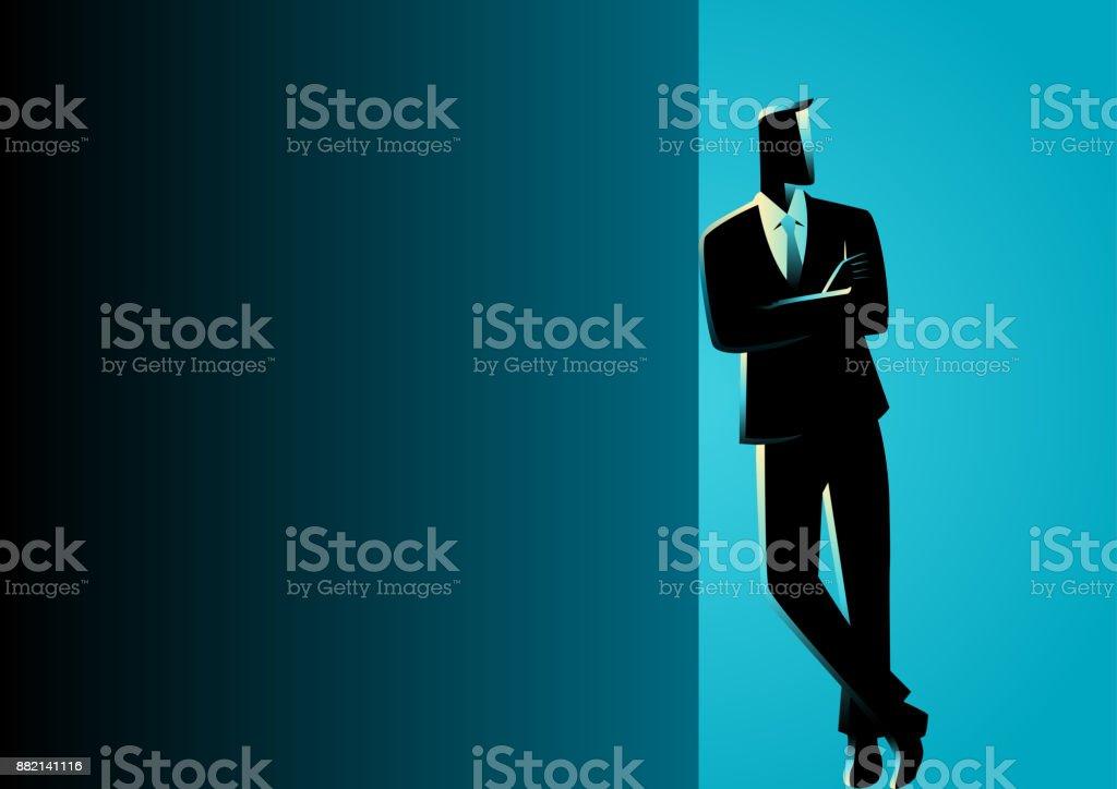 Geschäftsmann an dunklen Leerzeichen gelehnt – Vektorgrafik