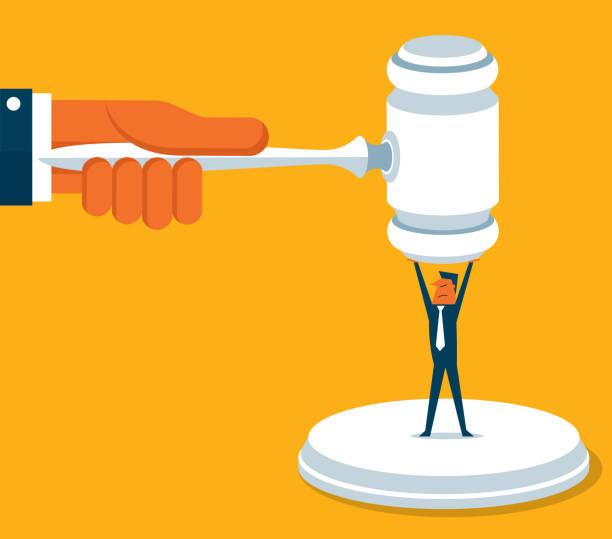 stockillustraties, clipart, cartoons en iconen met ondernemer - juridisch systeem - faillissement
