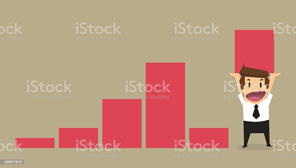 businessman lift increase bar chart vector art illustration