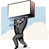 A businessman lifting a sign or box. Personalize by adding your logo or text to sign. JPEG is XXXL (20 in. x 20 in. at 300 dpi). Elements are labeled and layered for easier color alterations. Uses global colors.