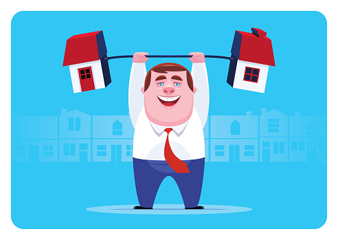 businessman lifting barbell house