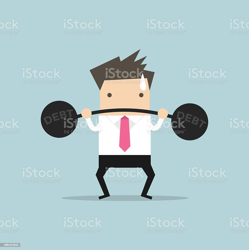 Businessman lifting heavy weight debt vector art illustration