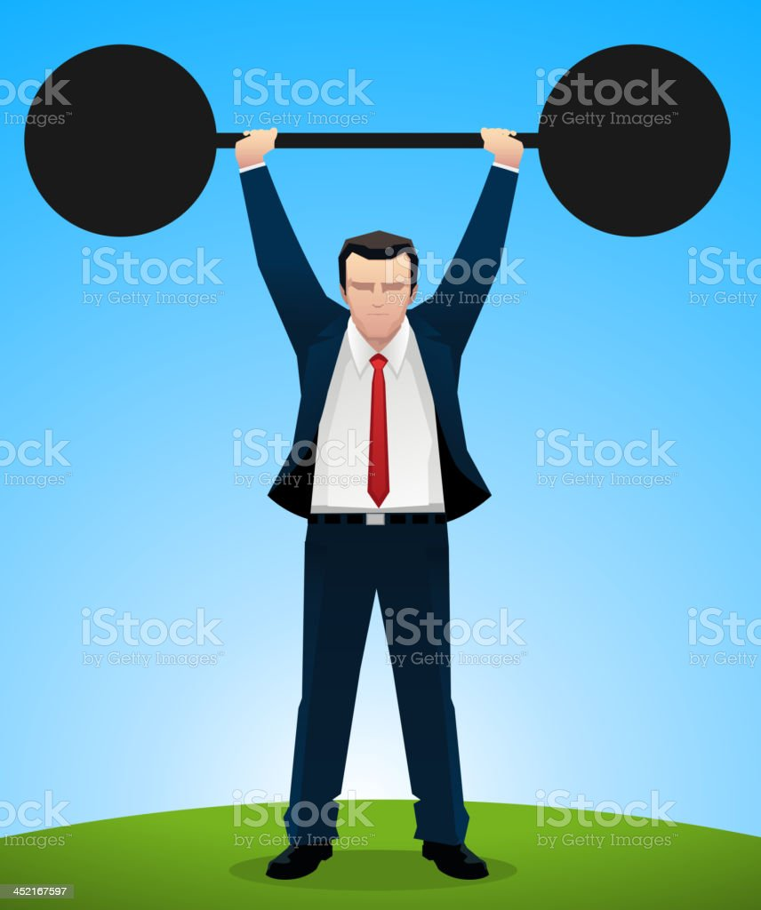 Businessman lifting weight royalty-free stock vector art