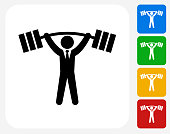 Businessman Lifting Weights Icon. This 100% royalty free vector illustration features the main icon pictured in black inside a white square. The alternative color options in blue, green, yellow and red are on the right of the icon and are arranged in a vertical column.