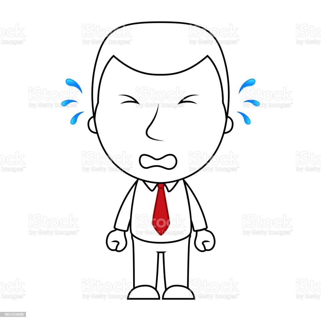 実業家線漫画顔悲しい表情を泣いています いたずら書きのベクター
