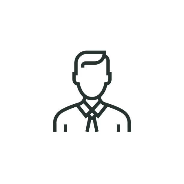 stockillustraties, clipart, cartoons en iconen met pictogram van de lijn van de zakenman - pak