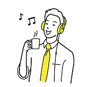 Businessman listen to music with headphone