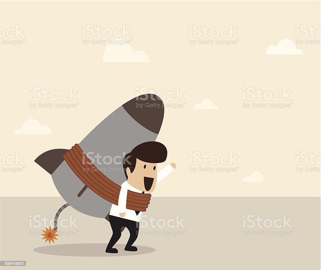 businessman lock himself with rocket vector art illustration