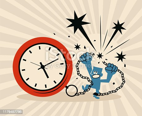 Blue Little Guy Characters Full Length Vector Art Illustration. Businessman locked in a big clock and chain is pulling apart the chain.