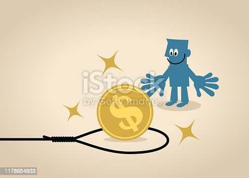 Blue Little Guy Characters Full Length Vector Art Illustration. Businessman looking at a big dollar sign currency coin inside the noose trap.