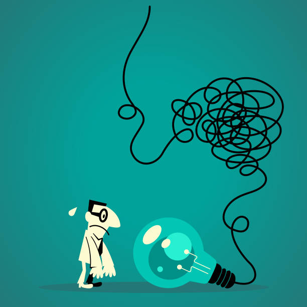 Businessman looking at a big idea light bulb with tangled messy electrical line vector art illustration