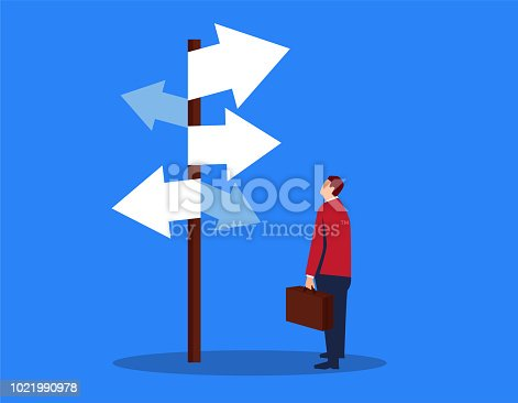 Businessman looking at complicated street sign