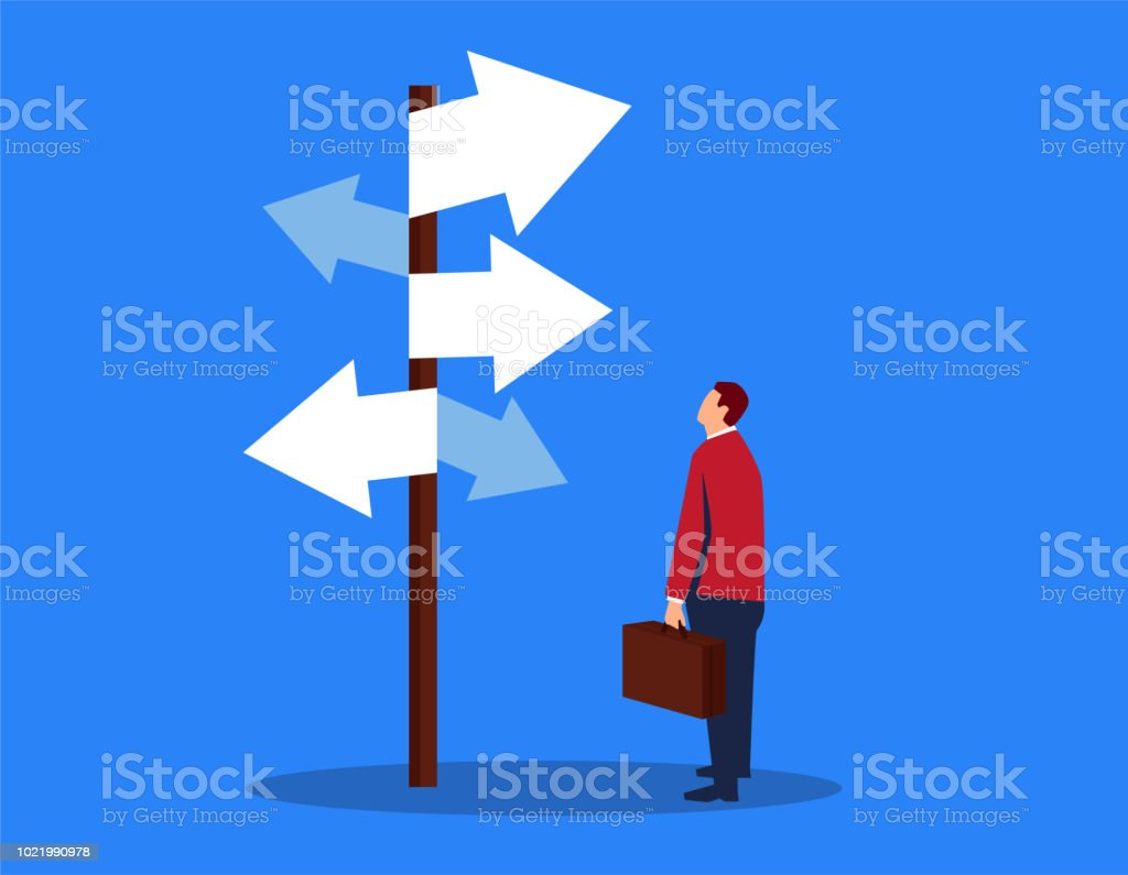 Businessman looking at complicated street sign vector art illustration