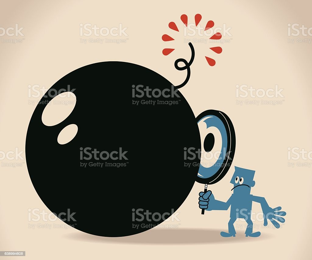 Businessman looking at the bomb with a magnifier vector art illustration
