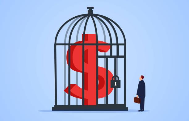 ilustraciones, imágenes clip art, dibujos animados e iconos de stock de hombre de negocios mirando el dólar dentro de la jaula - bancarrota