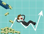 Businessman looking for growth chart ,money and pointing finger to raise the graph get a lot of money.Chart growth and success concept. Cartoon Vector Illustration.