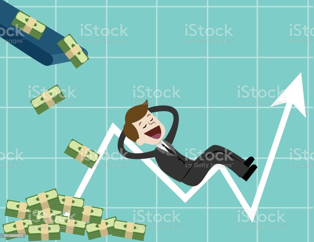 Businessman looking for growth chart ,money and pointing finger to raise the graph get a lot of money. vector art illustration