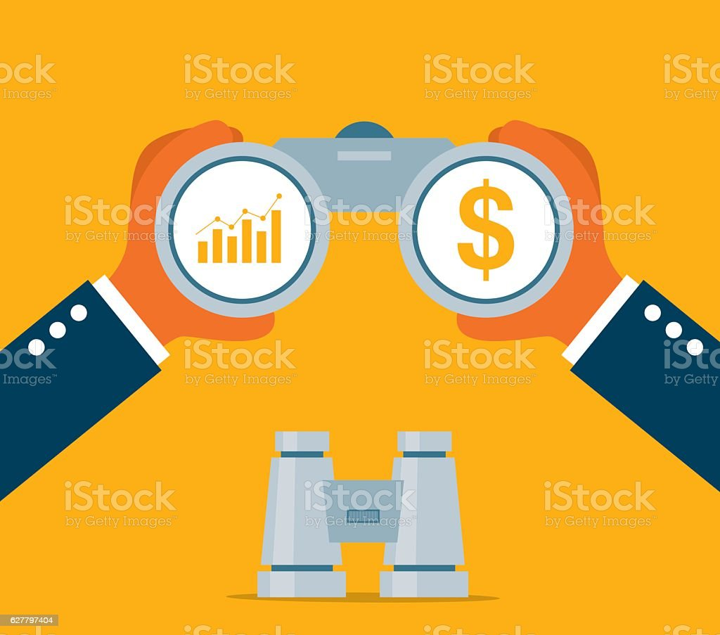 Businessman Looking for investment vector art illustration