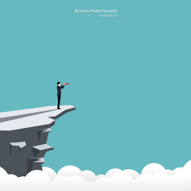 Businessman looking in telescope standing on cliff Businessman looking in telescope standing on cliff. Business vision concept, Leadership, Achievement, Target, Vector illustration flat cliffs stock illustrations