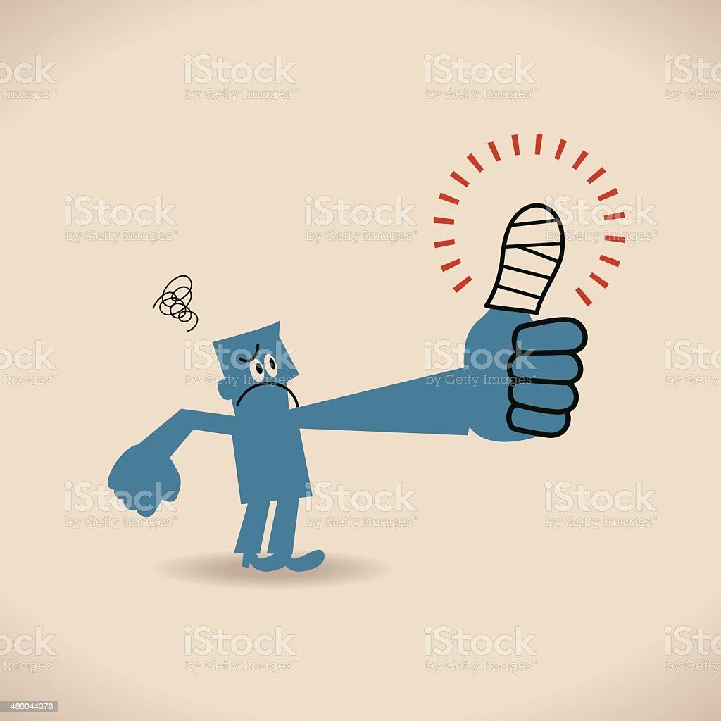 Businessman looking injured painful thumb finger with white gauze bandage vector art illustration