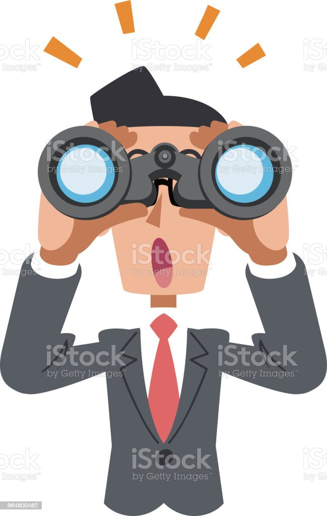 A businessman looking into binoculars and noticing something royalty-free a businessman looking into binoculars and noticing something stock illustration - download image now