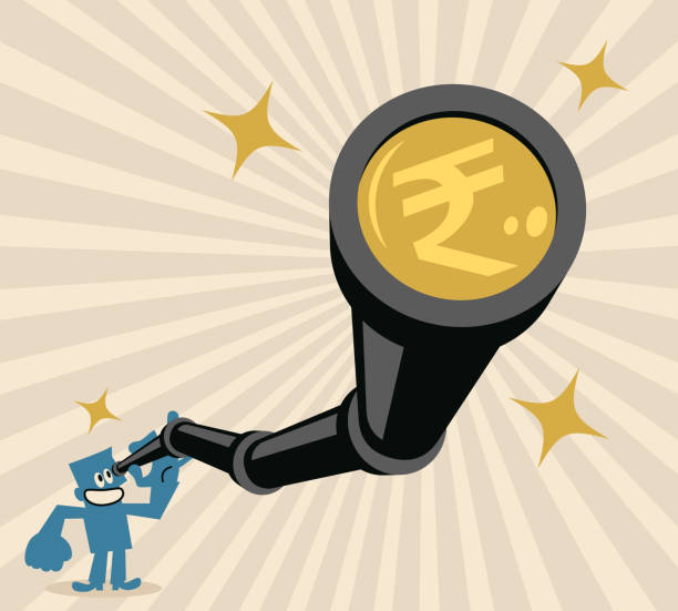 Businessman looking through a hand-held telescope with Indian Rupee currency vector art illustration