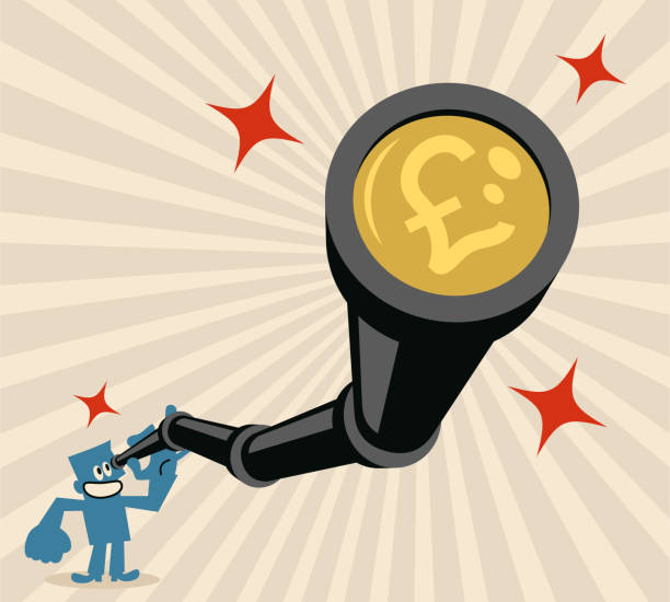 Businessman looking through a hand-held telescope with pound sign british currency Blue Little Guy Characters Full Length Vector Art Illustration.Copy Space. Businessman looking through a hand-held telescope with pound sign british currency. stimulus check stock illustrations