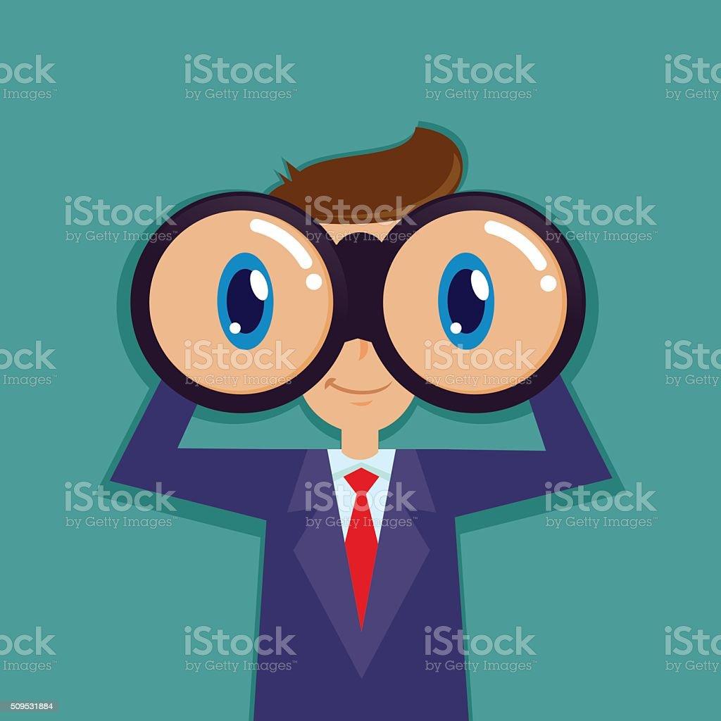 Businessman Looking Through Binocular vector art illustration