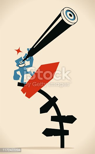 Blue Little Guy Characters Full Length Vector Art Illustration. Businessman looking through hand-held telescope and standing on bending directional sign.