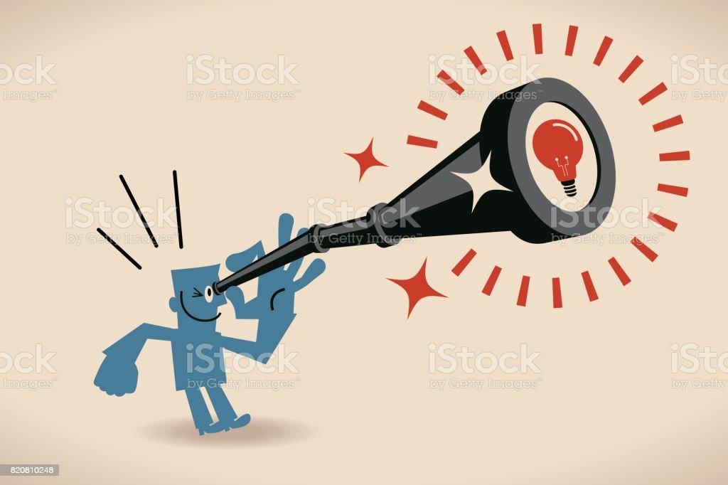 Businessman Looking Through Handheld Telescope With Idea Light Bulb