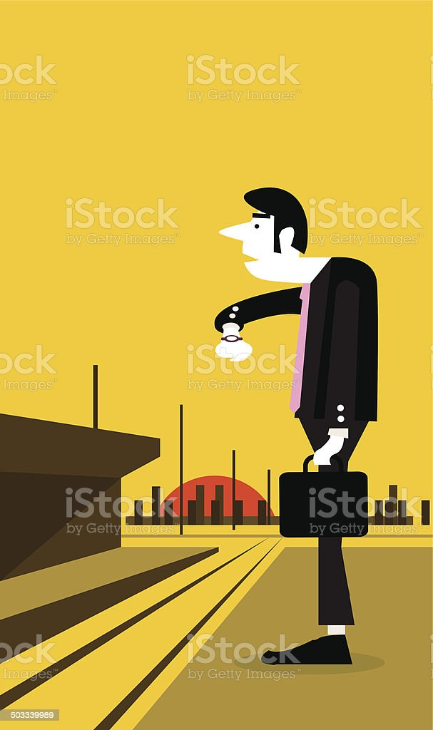 Businessman looking watch and standing at a train station. vector art illustration