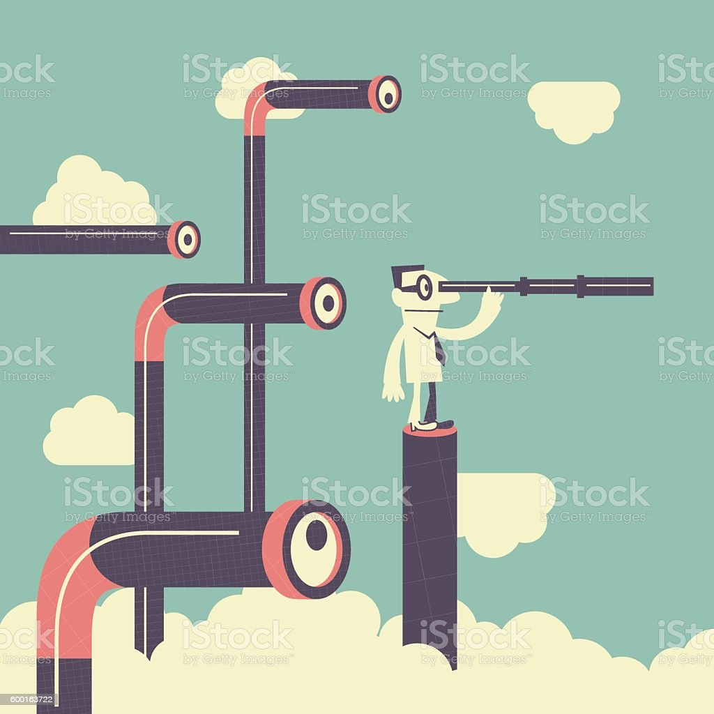 businessman looking with telescope peeked by many periscopes