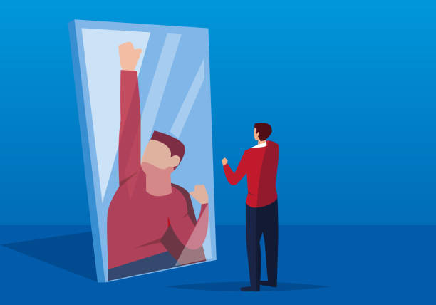 Businessman looks in the mirror Businessman looks in the mirror showing off stock illustrations