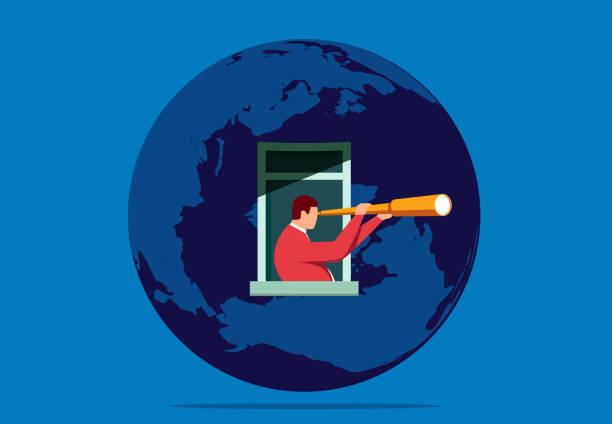 stockillustraties, clipart, cartoons en iconen met zakenman kijkt naar de afstand vanuit het raam van de aarde - new world