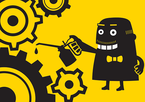 Businessman Lubricating Gears | Yellow Business Concept