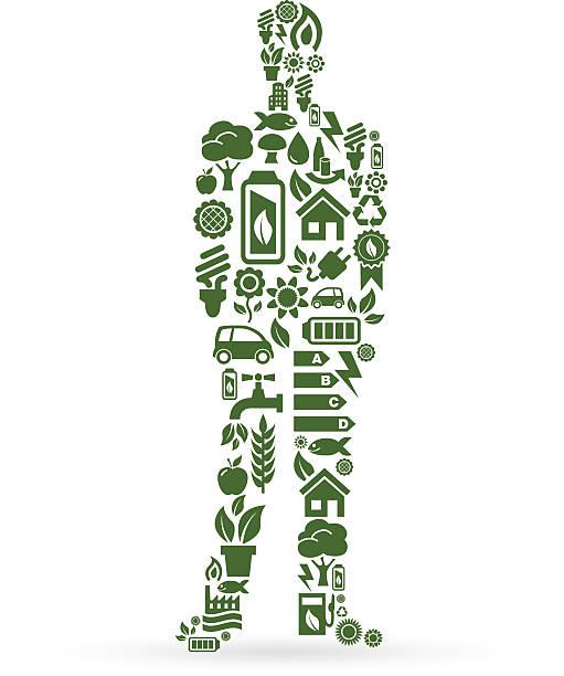 geschäftsmann aus ökologie-ikonen auf weißem hintergrund - kabelskulpturen stock-grafiken, -clipart, -cartoons und -symbole