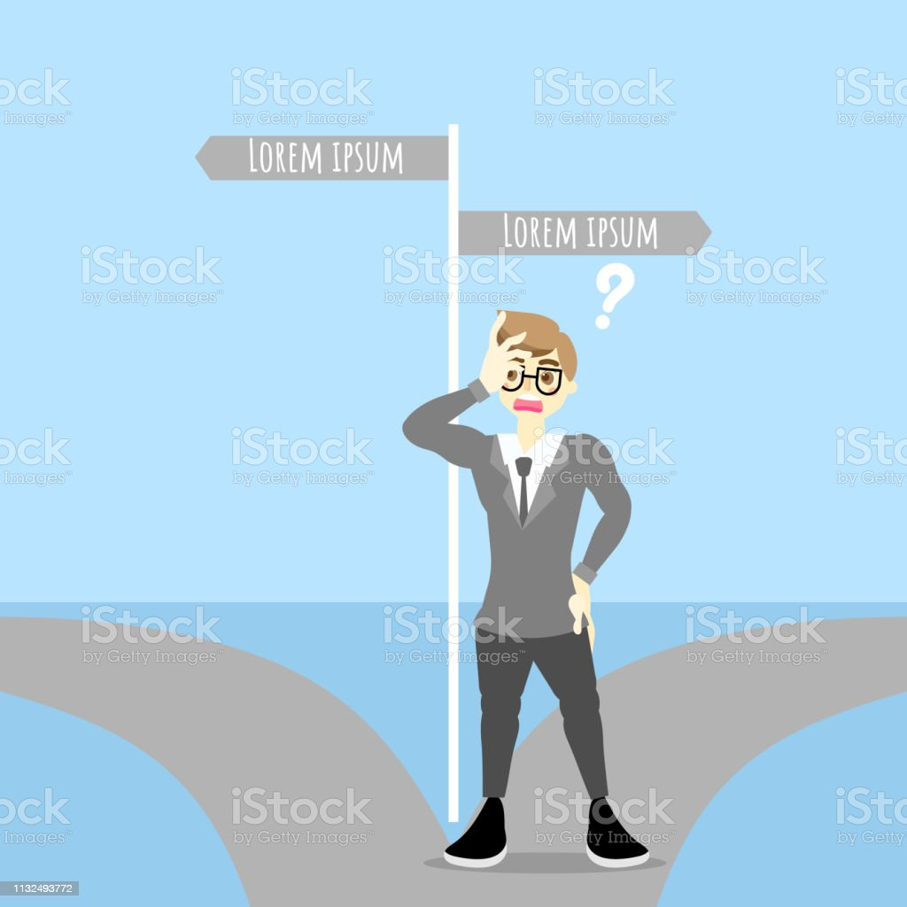 Businessman make a decision standing on the two pathways with road...