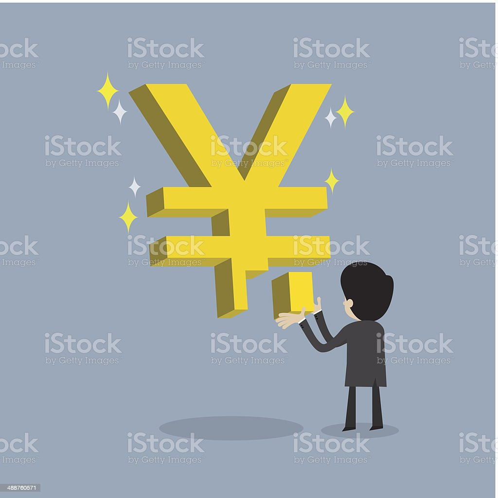 businessman make strong business with yen sign royalty-free stock vector art