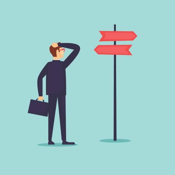 Geschäftsmann macht eine Wahl. Flaches Design-Vektor-Illustration. – Vektorgrafik