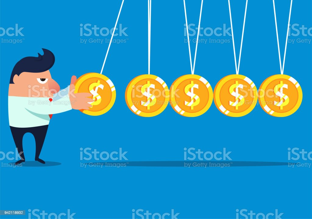 Businessman makes money without stopping vector art illustration