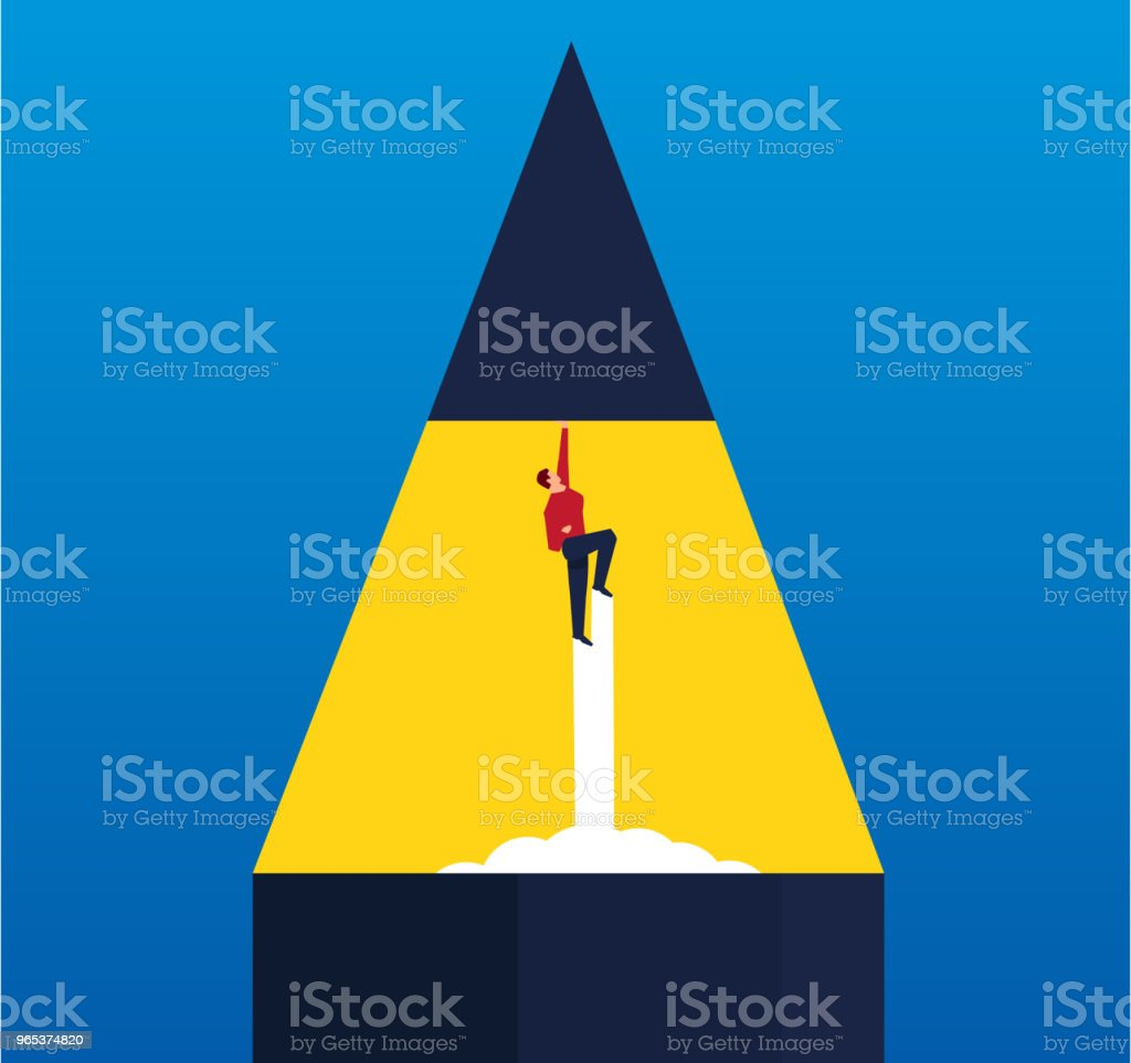 Businessman makes pen tip fly higher royalty-free businessman makes pen tip fly higher stock vector art & more images of achievement