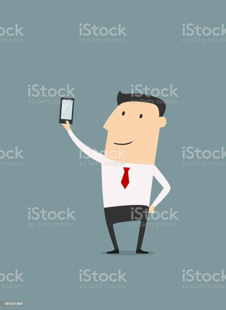Businessman makes selfie shot vector art illustration