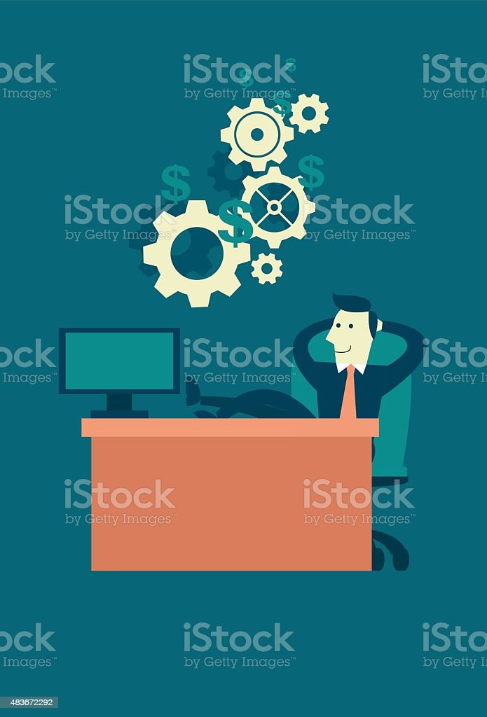 Businessman Making Easy Money with Passive Income vector art illustration