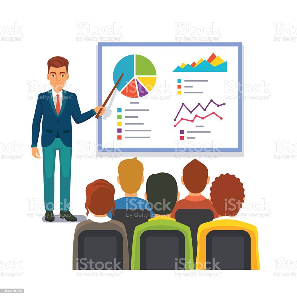Businessman making presentation. Business seminar vector art illustration