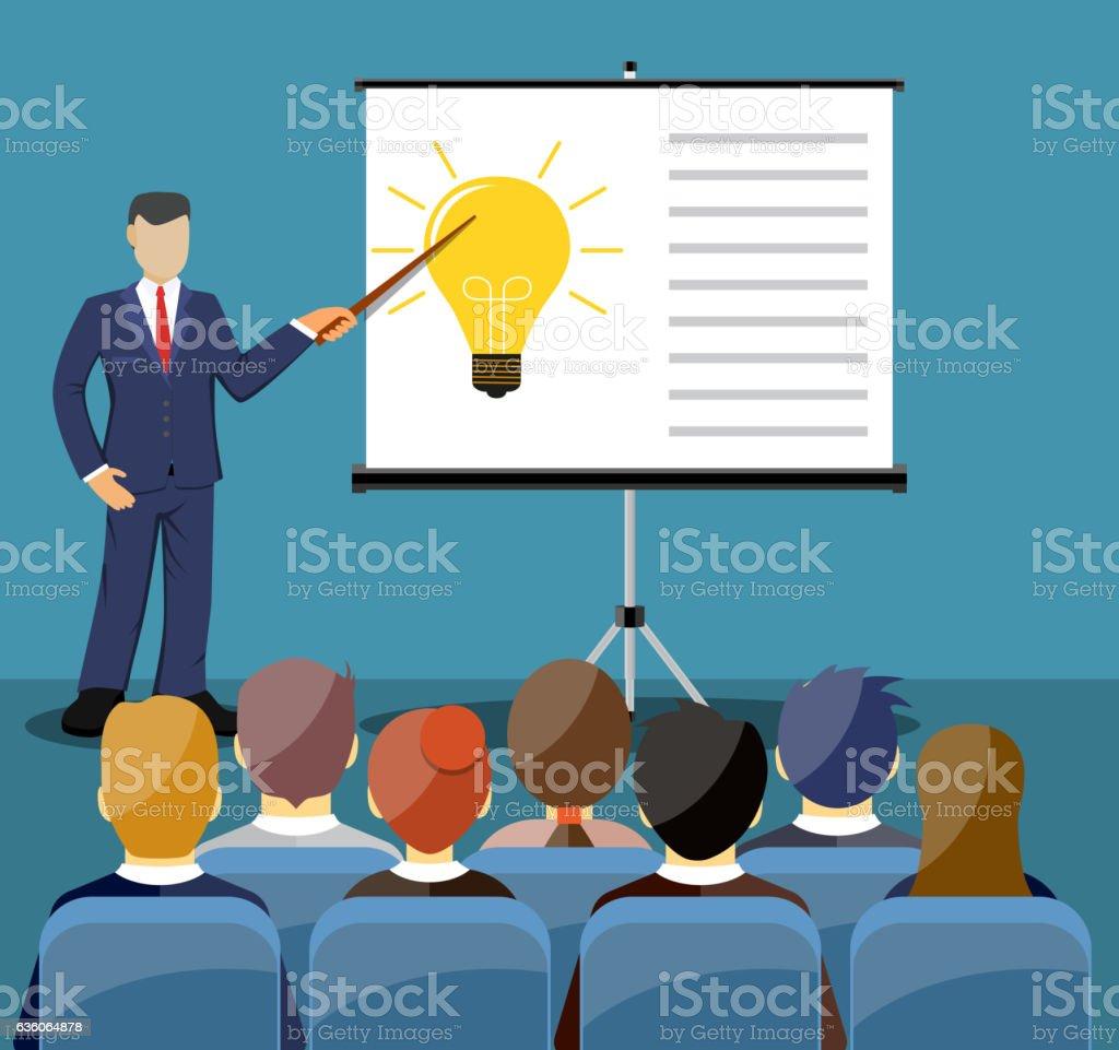 Businessman making presentation vector art illustration
