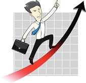 Businessman Man Chart Uptrend Arrow Cartoon