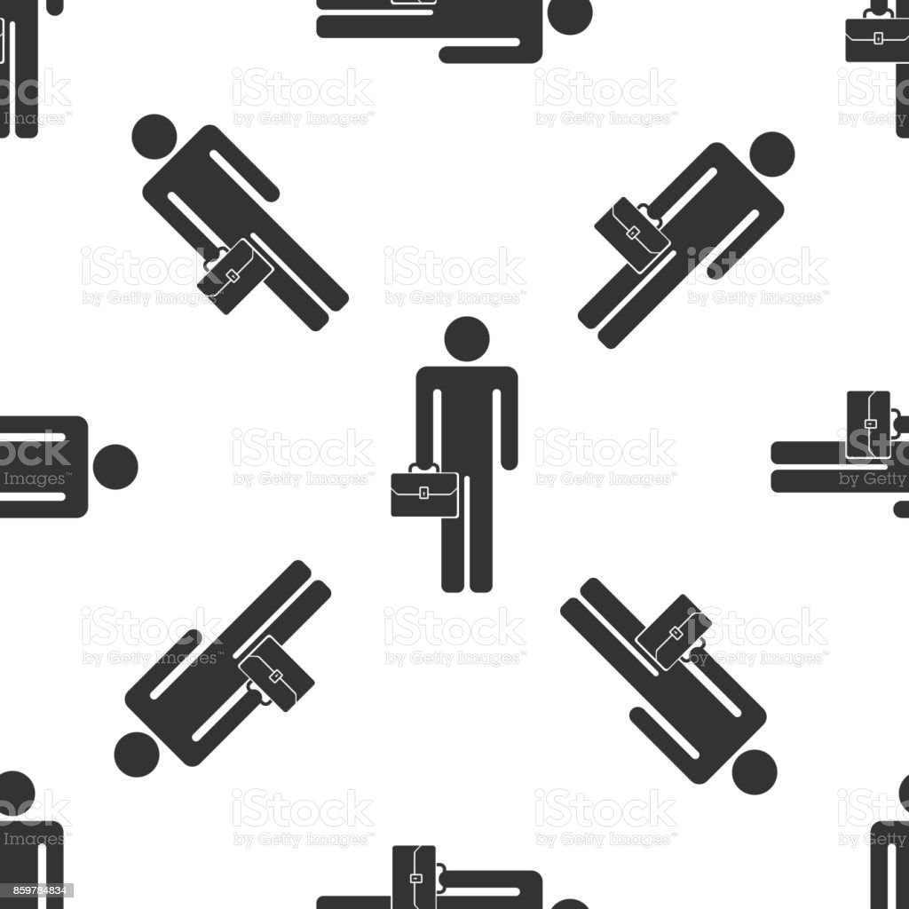 Businessman man with briefcase icon seamless pattern on white background. Flat design. Vector Illustration vector art illustration