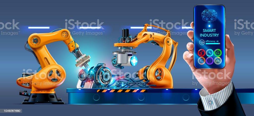 Businessman management smart factory with robotic arms and conveyor via smartphone connected to the Internet. Automation manufacturing. vector art illustration