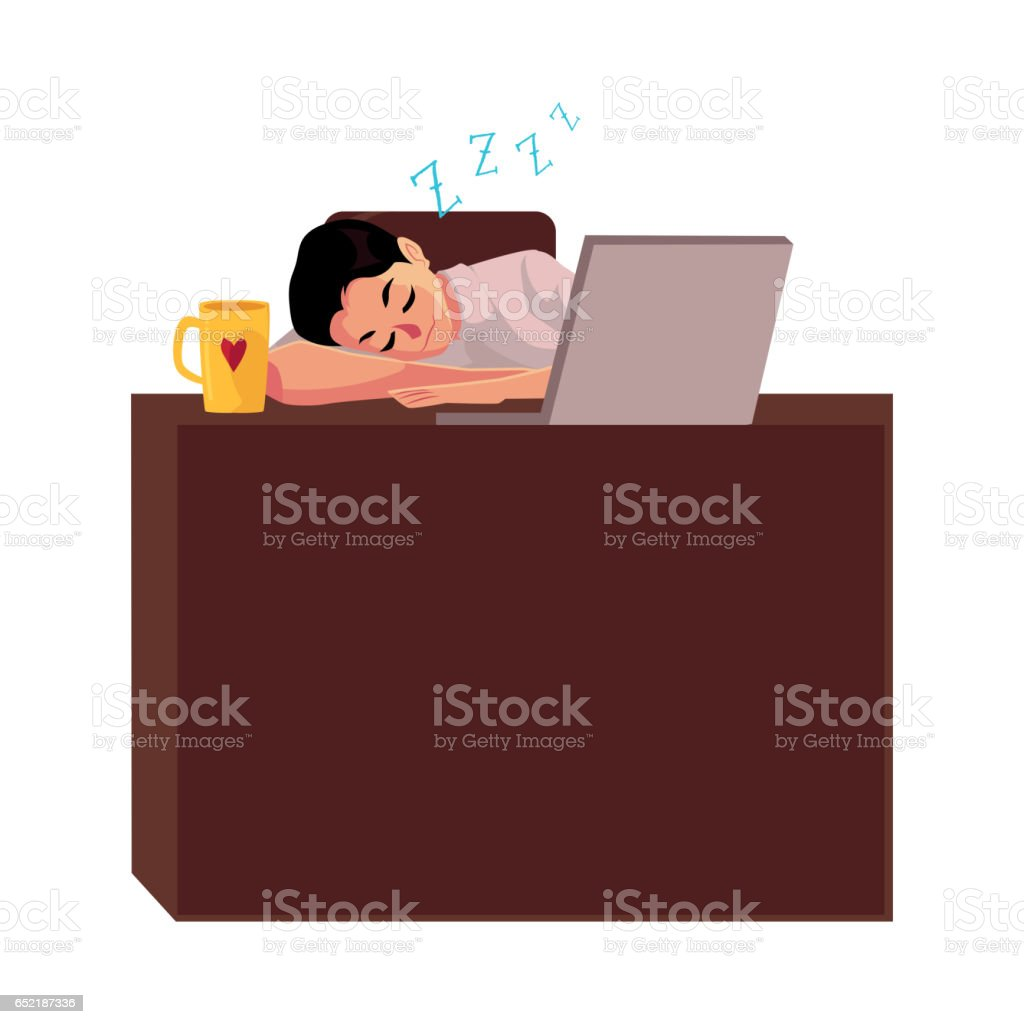 Businessman, manager sleeping sweetly at office desk, napping on workplace vector art illustration