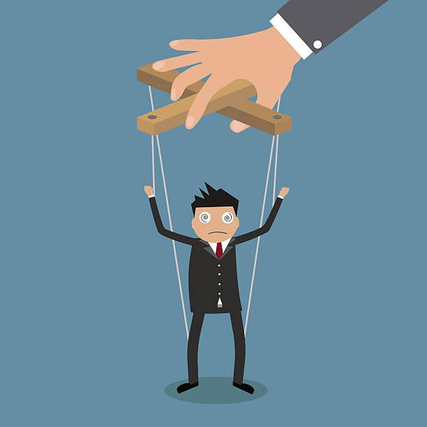 biznesmen marionetka na liny - marionetka stock illustrations